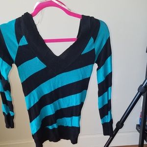 Tops - Turquoise & Black Striped VNeck Top!